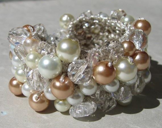 Pearl Crystal Bridal Bracelet  Ivory  Honey  by SerebaDesigns, $64.00