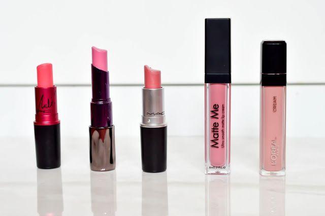 Top Pink Spring Lipsticks - MAC Nikki Viva Glam - Urban Decay Obsessed - MAC Angel - Sleek Matte Me Lipstick Petal - Loreal Lip Cream