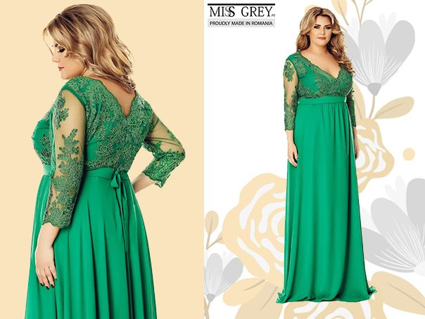 Choose for the next special events of this spring a refined long dress in a gorgeous green shade and you'll be the center of attention at any party. Discover the Plus Size Dian dress in our online shop!