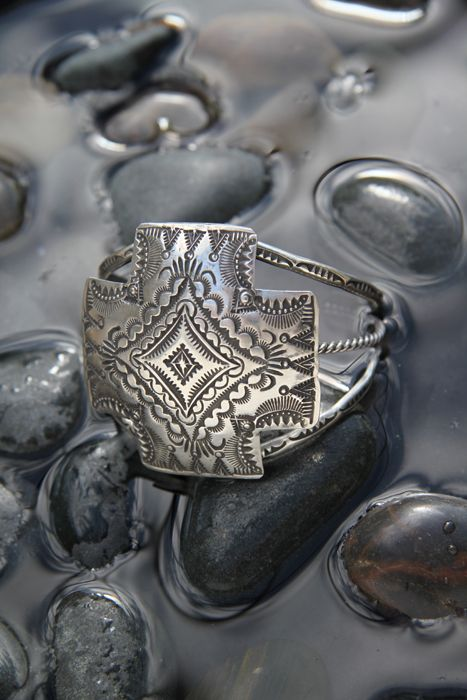 Navajo Indian Four Directions Sterling Silver Cuff Bracelet