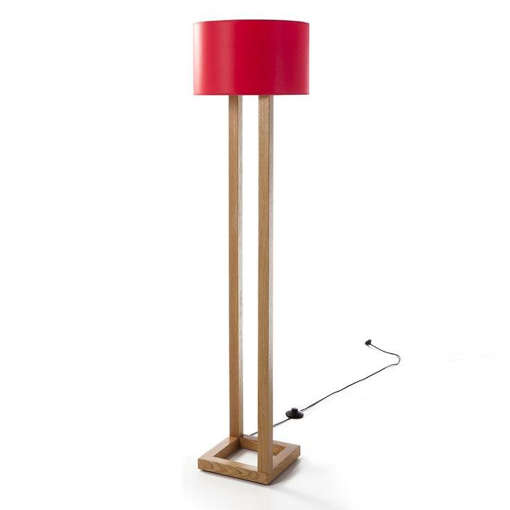 Stojací lampa Karalel Red s dřevěnou konstrukcí / floor lamp