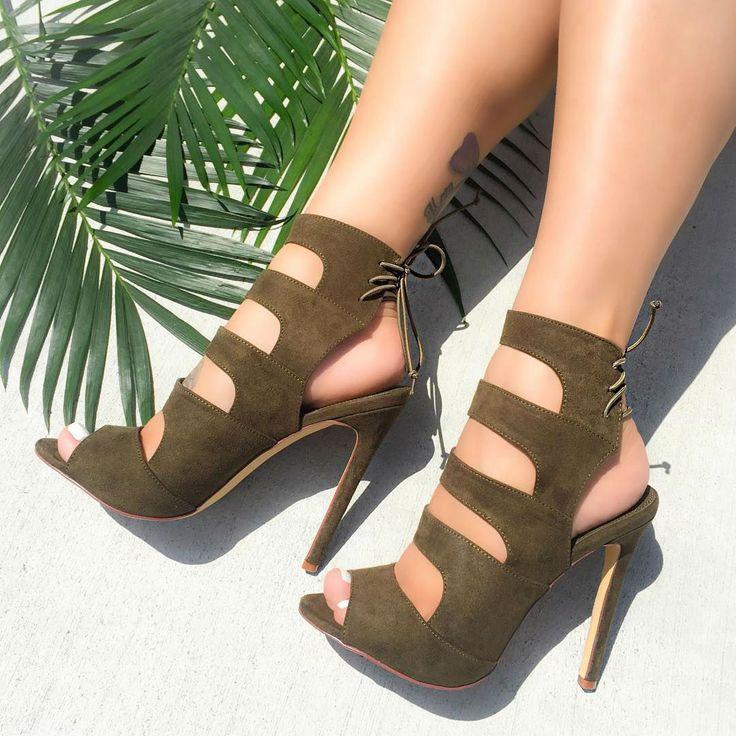 Olive Cutout Heels