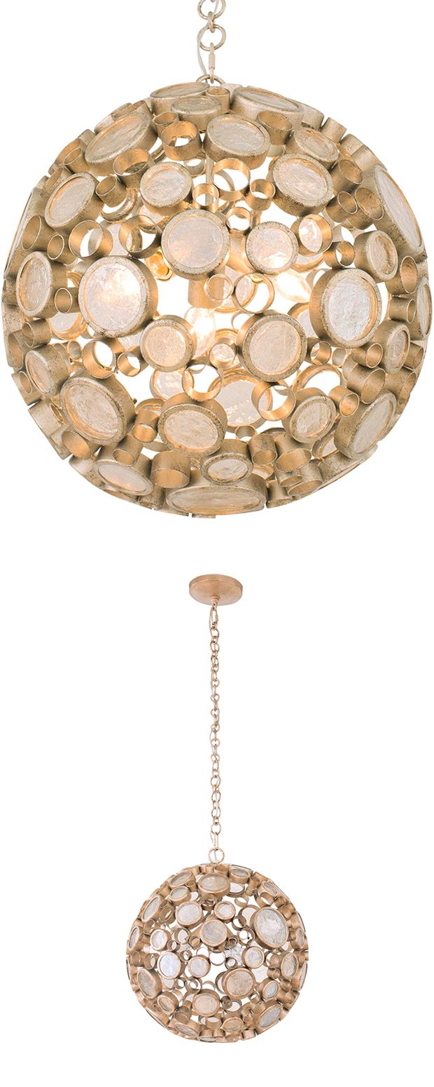 We were rather impressed with the cool vintage flavor of this Odyssey Orb Mini Pendant Light. Though it works well in a contemporary setting, we can't help but envision a mid-century aesthetic making i...  Find the Odyssey Orb Mini-Pendant in Zen Gold, as seen in the Bohemian Summer Solstice Collection at http://dotandbo.com/collections/bohemian-summer-solstice?utm_source=pinterest&utm_medium=organic&db_sku=121238
