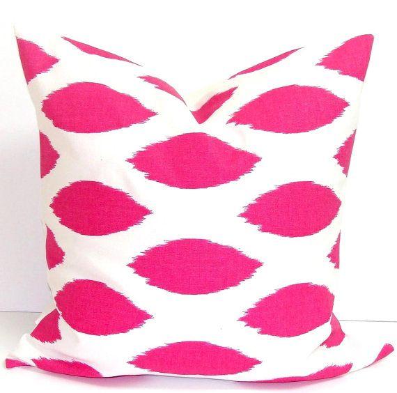 PINK PILLOW.20x20 inch.Pillow Cover.Decorative Pillows.Pink Throw Pillow Cover.Housewares.Pink Throw Pillow.Toss. Pink Pillow.Ikat.Spots.cm