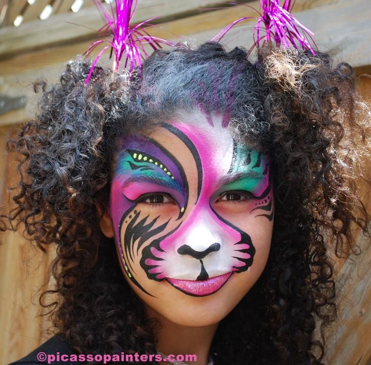 rainbow tiger face paint by Picasso Painters.com