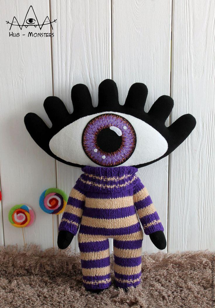 """Купить Игрушка Глазик """"Черничный кексик"""" - комбинированный, глаз, Глаза, психоделика, фантазийный сюжет, инопланетянин"""