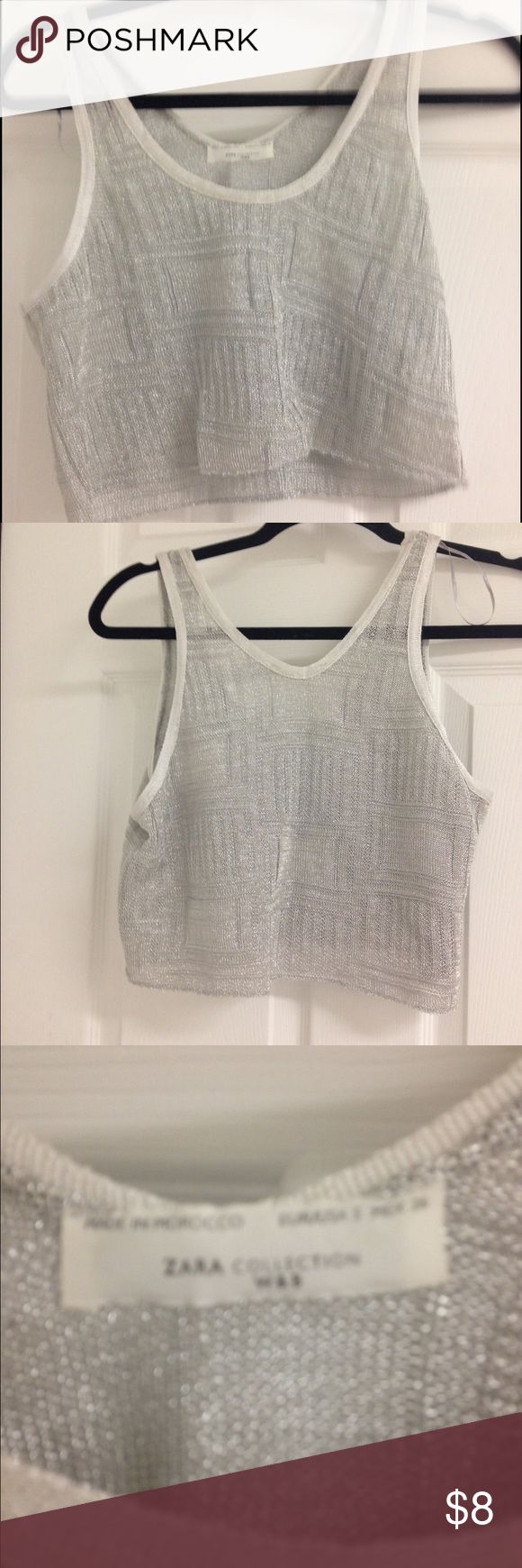 Zara silver crop top Excellent condition. It's an open weave top in a metallic thread so best worn with a cami or something under Zara Tops Crop Tops