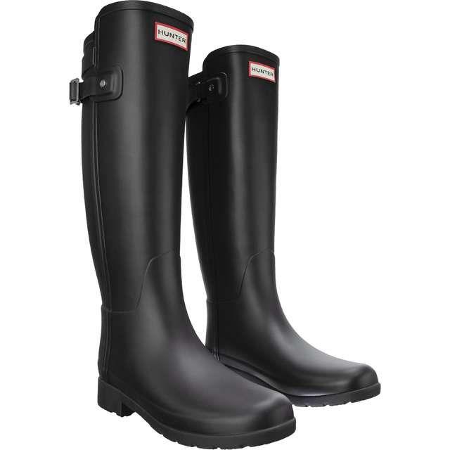 Kalosze Damskie Hunter Hunter Czarne Original Refined Back Strap Black Hunter Boots Boots Shoes