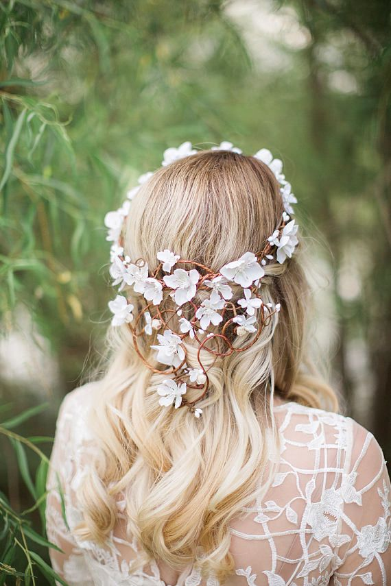 white flower crown for weddings, bridal flower crown with vines, cherry blossom wedding crown by The Honeycomb.
