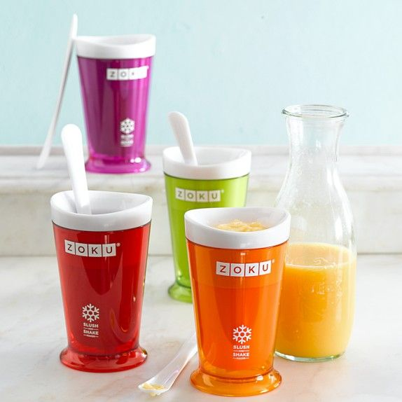 "Summerlicious drinks: ••Zoku Slush & Shake Maker•• also see accompanying Zoku ""The Art of Slush"" recipe book (96p by Jennifer Farley) • slush =  semi-frozen: slushies / milkshakes / smoothies / floats • shake without machine in Zoku cup - makes slush in 7min / place inner core in freezer min 8hrs / then pour slush in core (1 frozen core handles 2x 8oz cups before req. refreezing), whilst outer shell of cup protect you from freezing hold ; ) • slush spoon ; ) • $20 via Williams-Sonoma 2014-05"