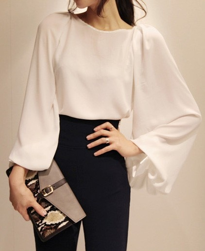 #Chicnova Sheer Chiffon Shirt with Puff Sleeves Details