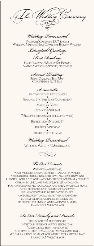 The  Best Wedding Program Examples Ideas On
