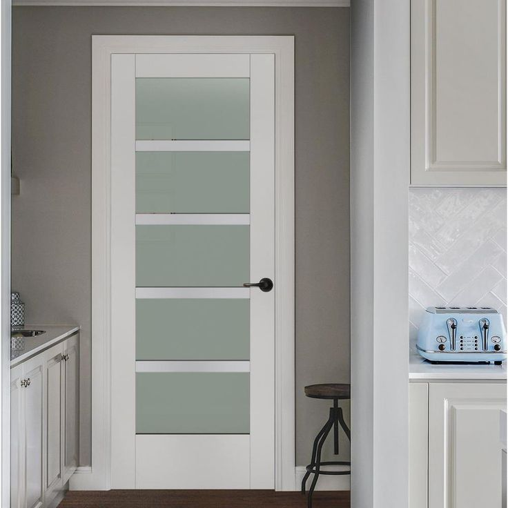 moda primed white 5lite solid core wood interior door slab with translucent glass panel