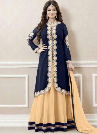 Ayesha Takia Navy Blue Beige Embroidery Work Georgette Designer Anarkali Suit http://www.angelnx.com/Salwar-Kameez/Anarkali-Suits