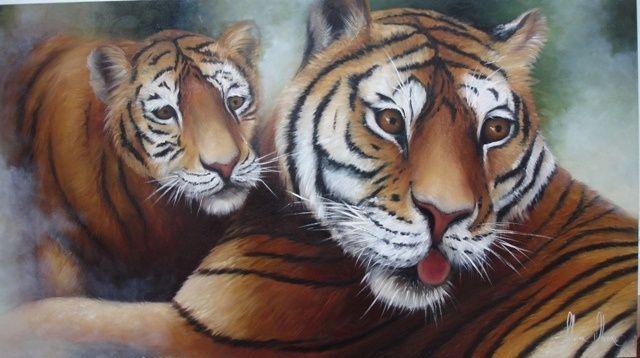 Tigre fêmea e filhote - Pittura ©2010 da Silvana Oliveira -