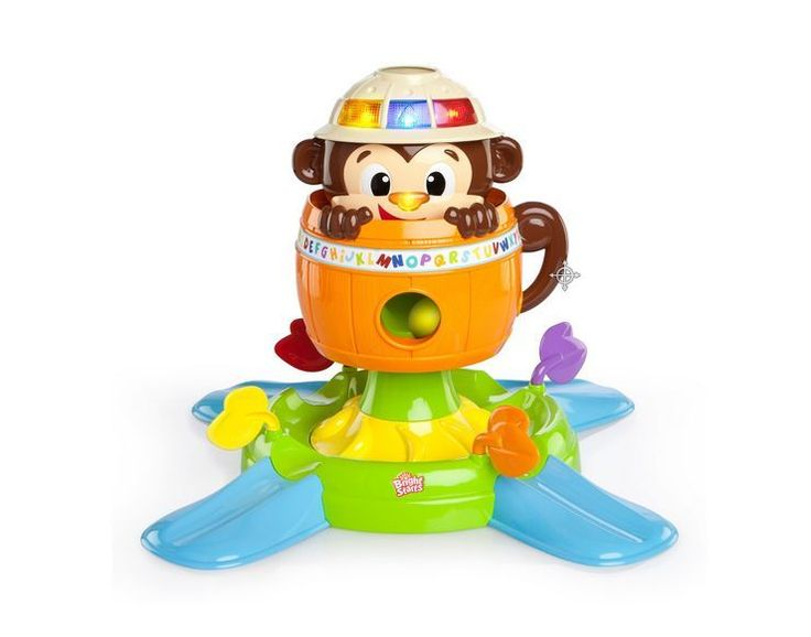 Hide n Spin Monkey Having A Ball Baby Interactive Toy Play Activity Lights Sound.  Having a Ball Hide 'n Spin Monkey. This irresistible monkey will keep baby engaged and on the move. Press the bright lights on the monkey's hat to hear the names of colours. Practice motor skills by picking up balls and putting them into the monkey's hat. Press the monkey's nose to see the balls drop into the monkey's hat and down into the barrel.