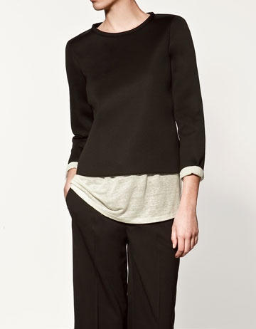 I like the idea of using neoprene for a casual top. From Zara