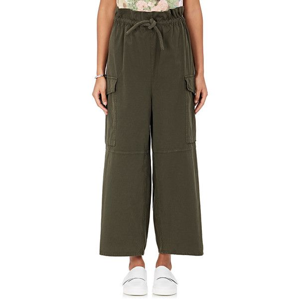 MM6 Maison Margiela Women's Cotton Piqué Cargo Pants featuring polyvore, women's fashion, clothing, pants, dark green, paperbag pants, pull on pants, dark green pants, pull on cargo pants and cargo pants
