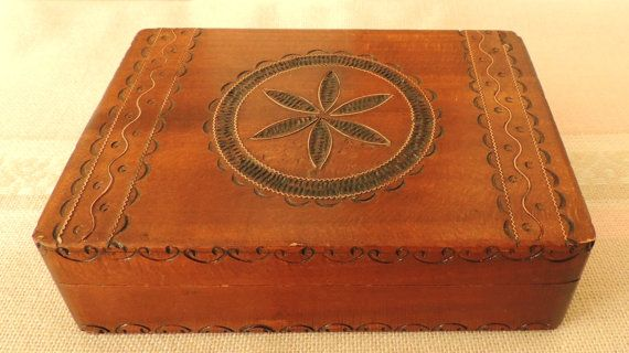 Vintage Wooden Box Incrusted with Copper Jewelry Box