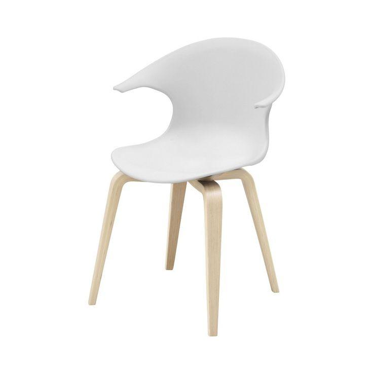 Scaun alb cu picioare din lemn deschis la culoare Aemely