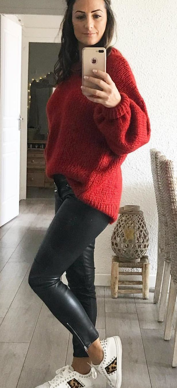 The 25  best Red sweater outfit ideas on Pinterest | Red jumper ...