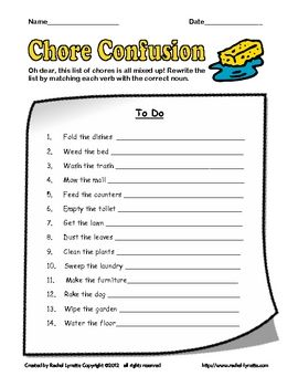 FREE fun printable for practicing verbs and nouns.