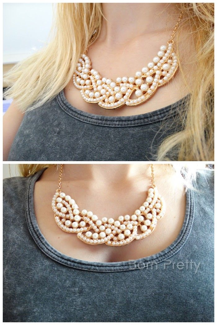 $4.87 1Pc Graceful Lady's Necklace Ripple Beaded Design Collar-necklace - BornPrettyStore.com