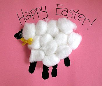 "Easter Craft...Hey I made this one this year with my PreK except I traced their tiny hands, cut them out and the kids glued on ""wool"".It was a strange looking little lamb but cute"
