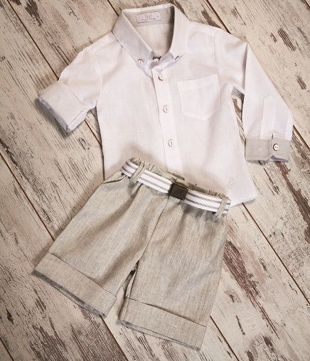 Linen Shirt Linen, short pants & striped belt. #boyfashion #elegantkids #childrenclothes