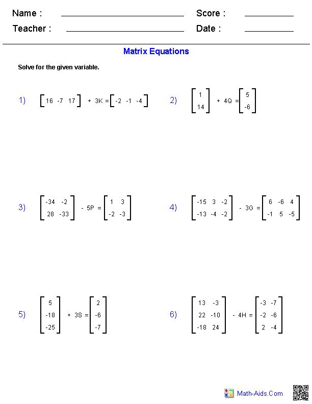 Matrices Worksheets Karibunicollies – Adding and Subtracting Matrices Worksheet
