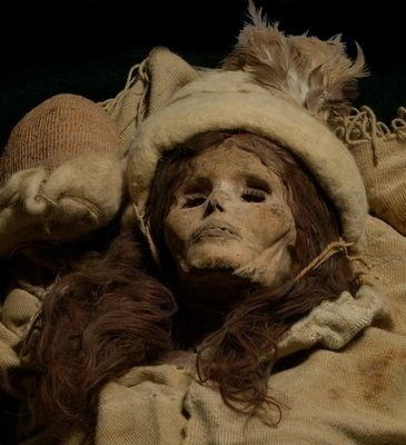 The Beauty of Xiaohe or Little River, 3,800 years old, mummified remains of a Caucasian woman found in Western China along with other European mummies and artifacts. These Tarim Basin mummies are controversial in China as they are evidence of Europeans in China before the Han Chinese themselves.