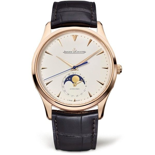 Jaeger-LeCoultre Master Ultra Thin Moon Rose Gold Watch ($19,250) ❤ liked on Polyvore featuring men's fashion, men's jewelry, men's watches, mens leather strap watches, mens rose gold watches and thin mens watches