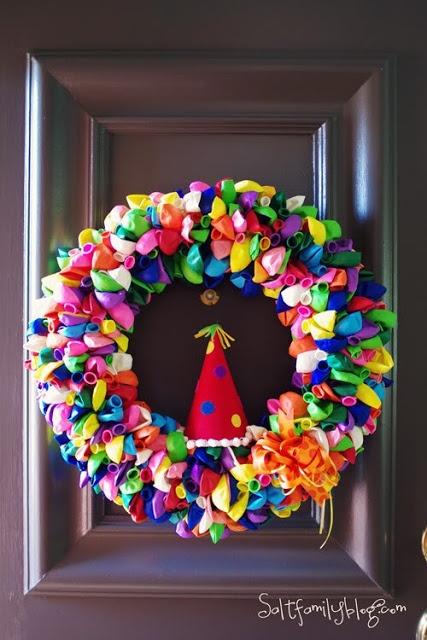 Kids birthday party wreath.