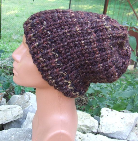 Knit slouch beanie  slouch hat  mens slouch beanie  by WoolieBits