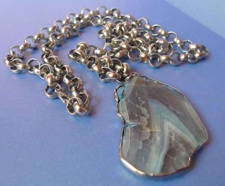 Men's Jewelry massive Chain 88g with Druzy Quartz Gemstone Pendant 32g #unknown #Pendant