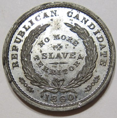 """Lincoln 1860 Republican Candidate  """"No More Slave Territory"""" Campaign medal /token. *s*"""