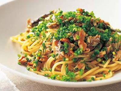 オイルサーディンの和風スパゲッティ sardine pasta