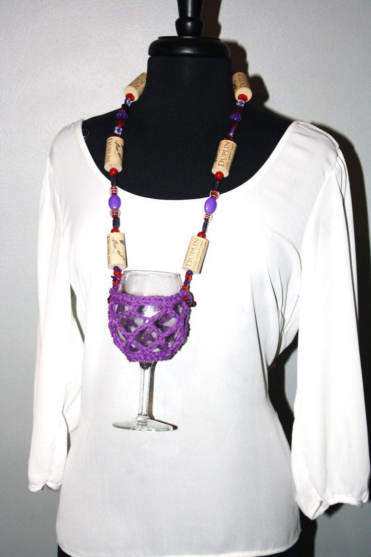 Wine Glass Necklace - Wine Glass Holder - Purple Wine Glass Lanyard - Purple Wine Glass Necklace - Crochet Wine Glass Necklace - Wine Lover - pinned by pin4etsy.com