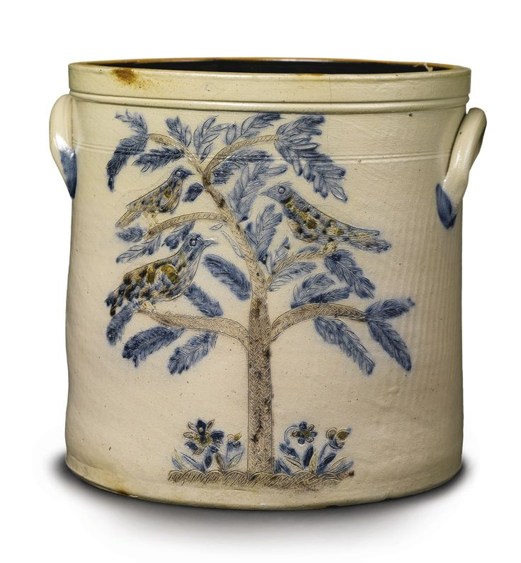 A RARE THREE-COLORED INCISED SALT GLAZED STONEWARE CROCK, N. CLARK & CO., NEW YORK, CIRCA 1840