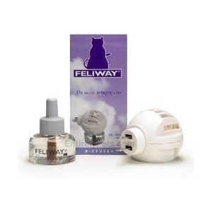 Feliway Comfort Zone diffusers are great for reducing stress in cats,They help prevent aggression and urine marking in the home.Feliway Plug-In Diffuser with Refill, 48 Milliliters    (trying this with Stewie now)