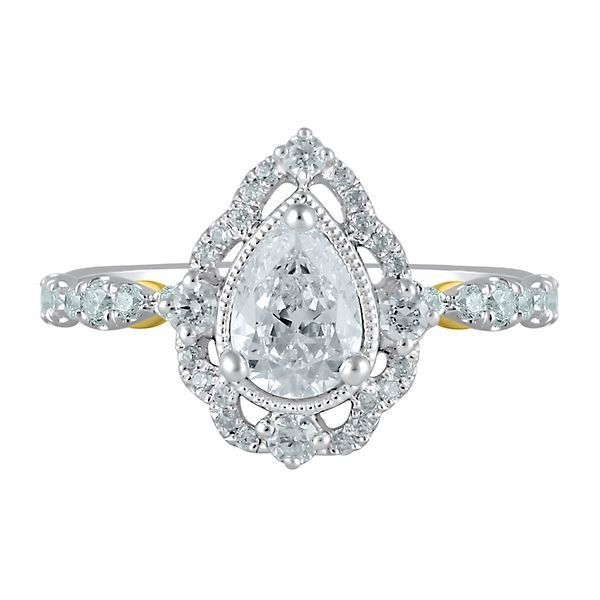 1.00CT Pear-Cut Yellow Diamond Vinatge Halo Promise Ring 14K White Gold Finish.