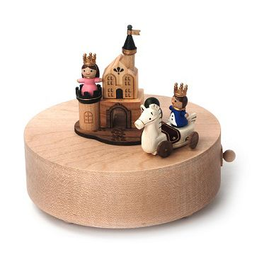 This high quality fine wood crafted music box comes with a miniature Prince Charming riding his trusty steed circling around the tower where Sleeping Beauty is hidden.  Thanks to its extraordinary tra