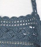 A crocheted yoke with straps that are stitched to coordinating fabric, creating a fabulous babydoll top. Free pattern.