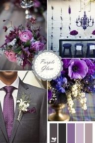 purple wedding color schemes - love the dark grey with the purple tie!!! - wish-upon-a-wedding
