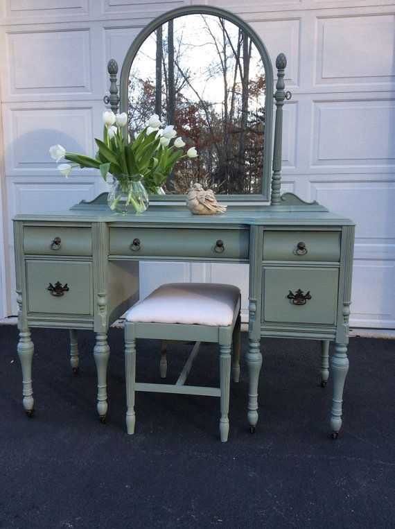Painted Distressed Vintage Vanity Mirror Shabby Chic Dressing Table Vintage Shabby Chic