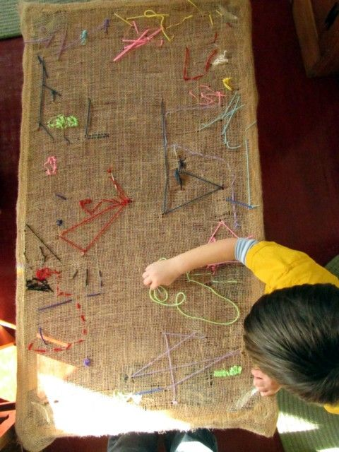 using table frame and burlap for kid practice stitching table (transform into fabric cover or wall hanging or something else afterward - this is a neat project)
