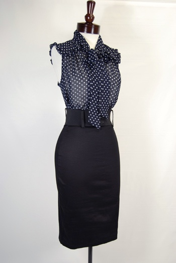 would add sleeves but love this - sleeveless navy blue and white polka dot chiffon pussy bow blouse, black wide waist belt, black waist high knee length pencil skirt