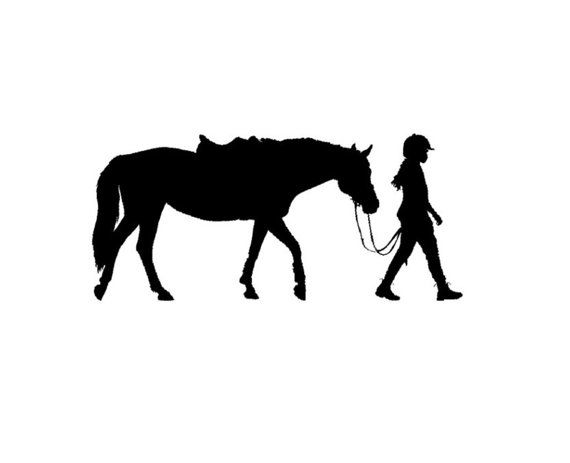 Horse Wall Decal Pony And Rider Vinyl Wall Decal Girls