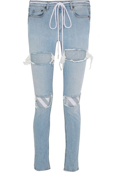 Off-White - Embroidered Distressed Mid-rise Skinny Jeans - Light denim - 31
