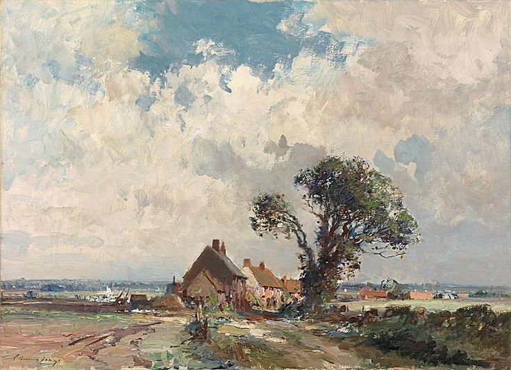 Edward Seago - Cottages by the marsh, Norfolk - Edward Seago